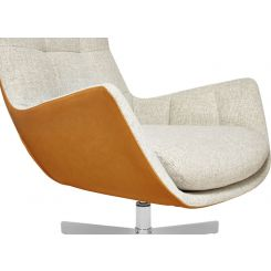 Armchair in Lecce fabric, nature and cognac vintage leather with metal cross leg