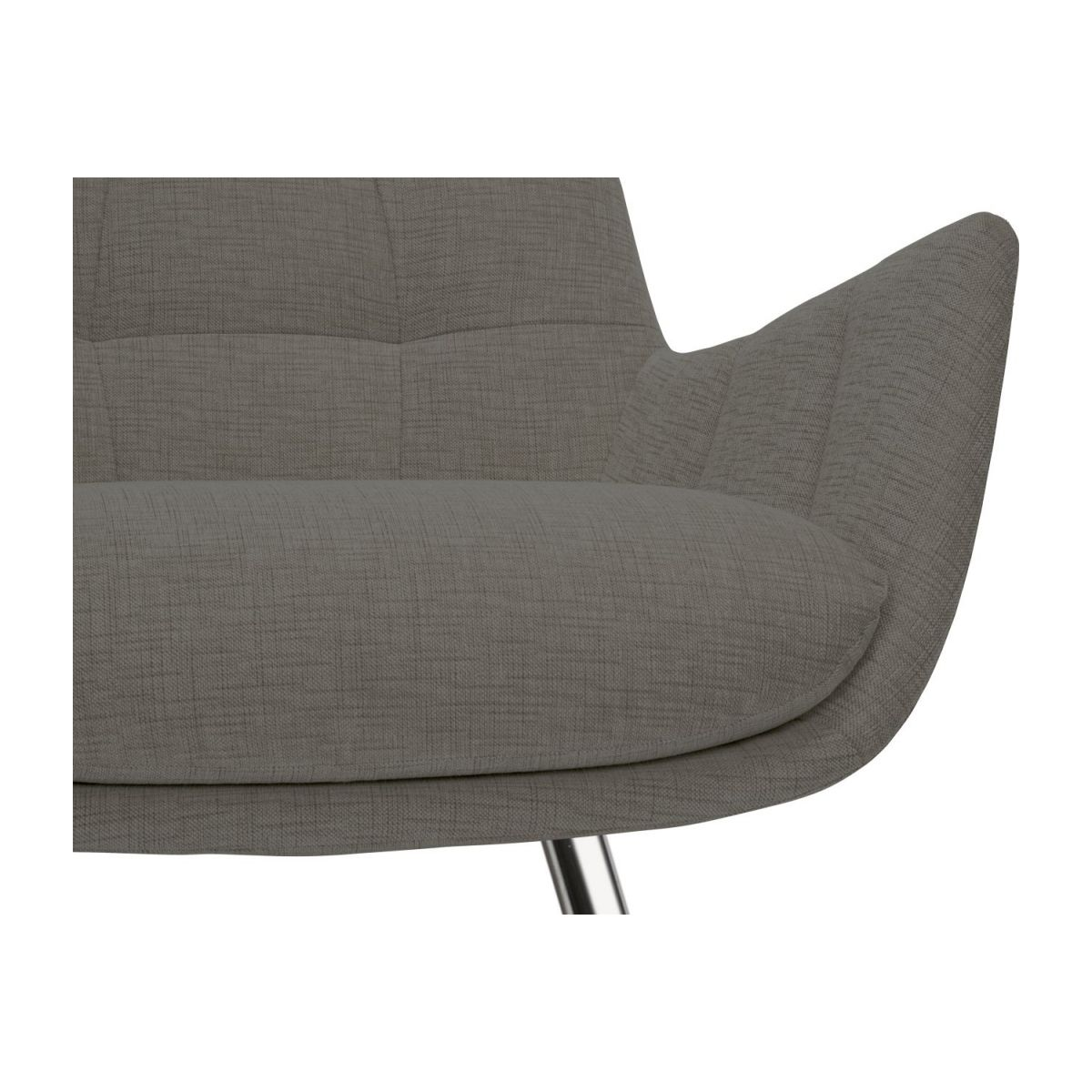 Armchair in Ancio fabric, river rock with chromed metal legs n°7