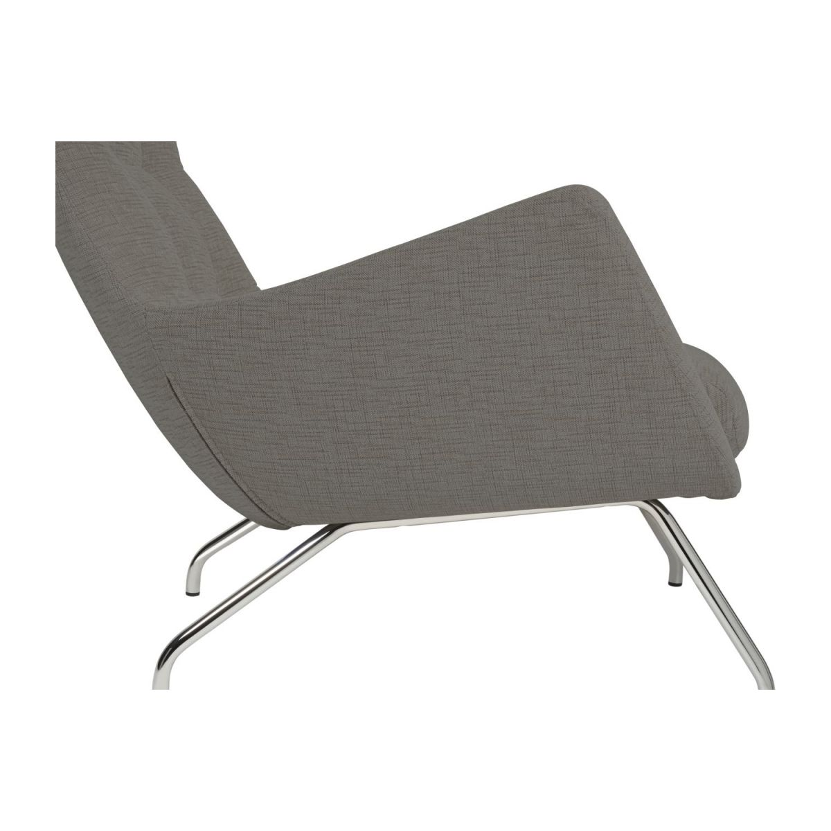 Armchair in Ancio fabric, river rock with chromed metal legs n°6