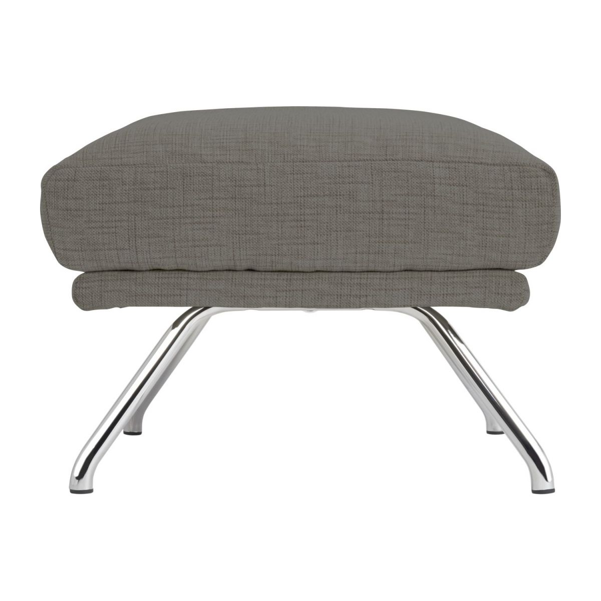 Footstool in Ancio fabric, river rock with chromed metal legs n°5