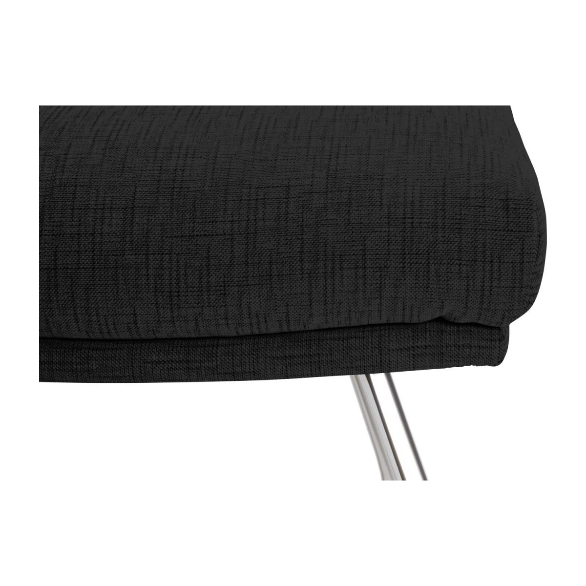 Footstool in Ancio fabric, nero with chromed metal legs n°6