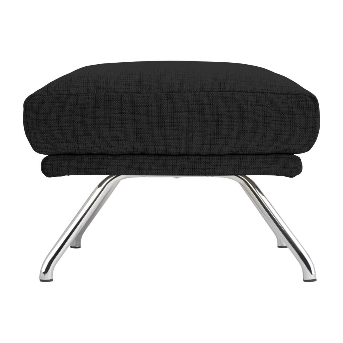 Footstool in Ancio fabric, nero with chromed metal legs n°5