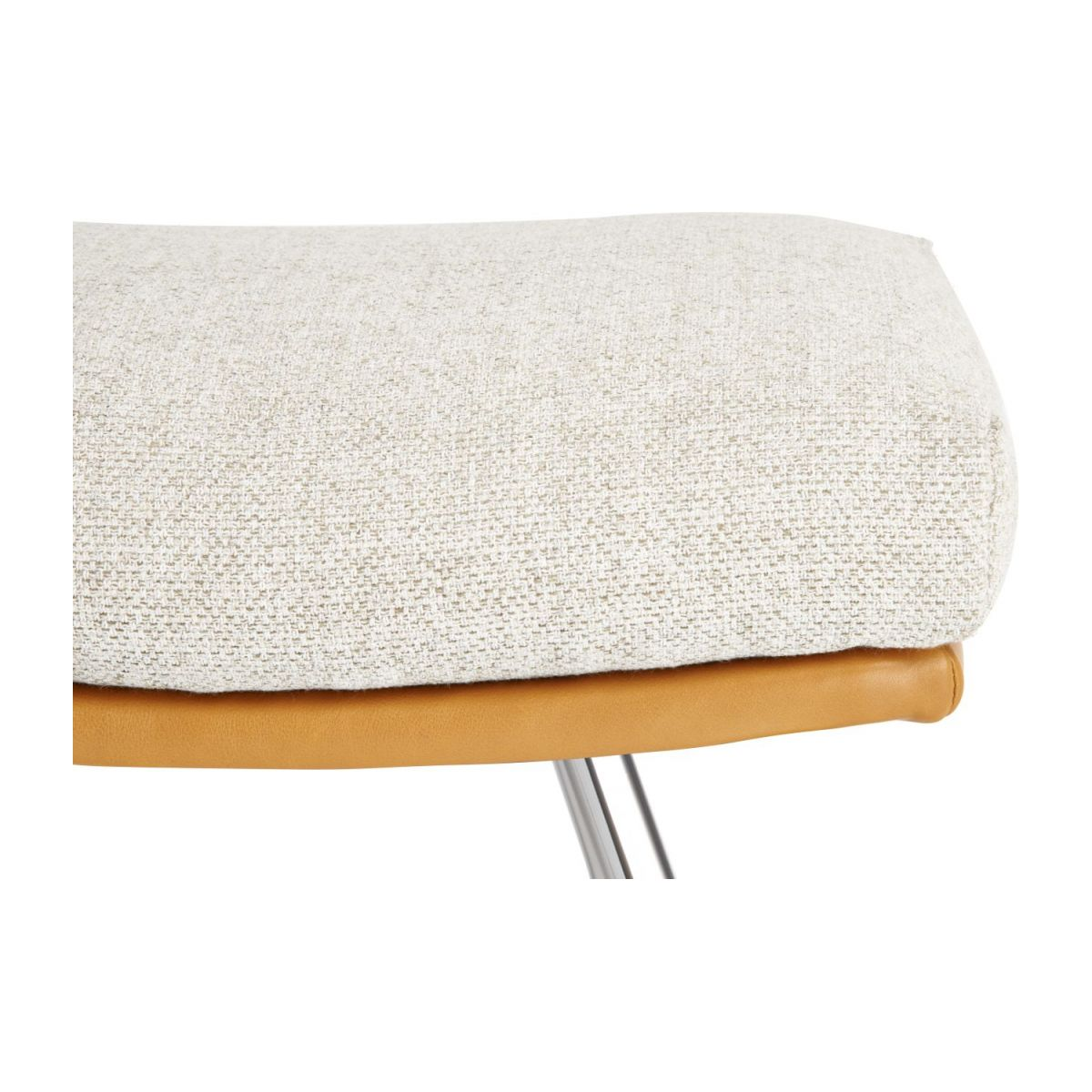 Footstool in Ancio fabric, nature et cuir marron with chromed metal legs n°4
