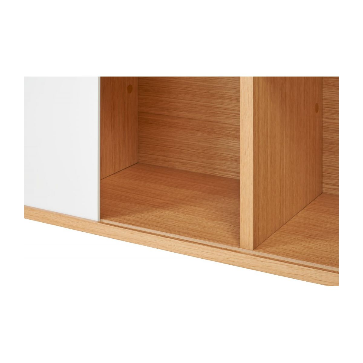 Low bookcase, oak and white n°7