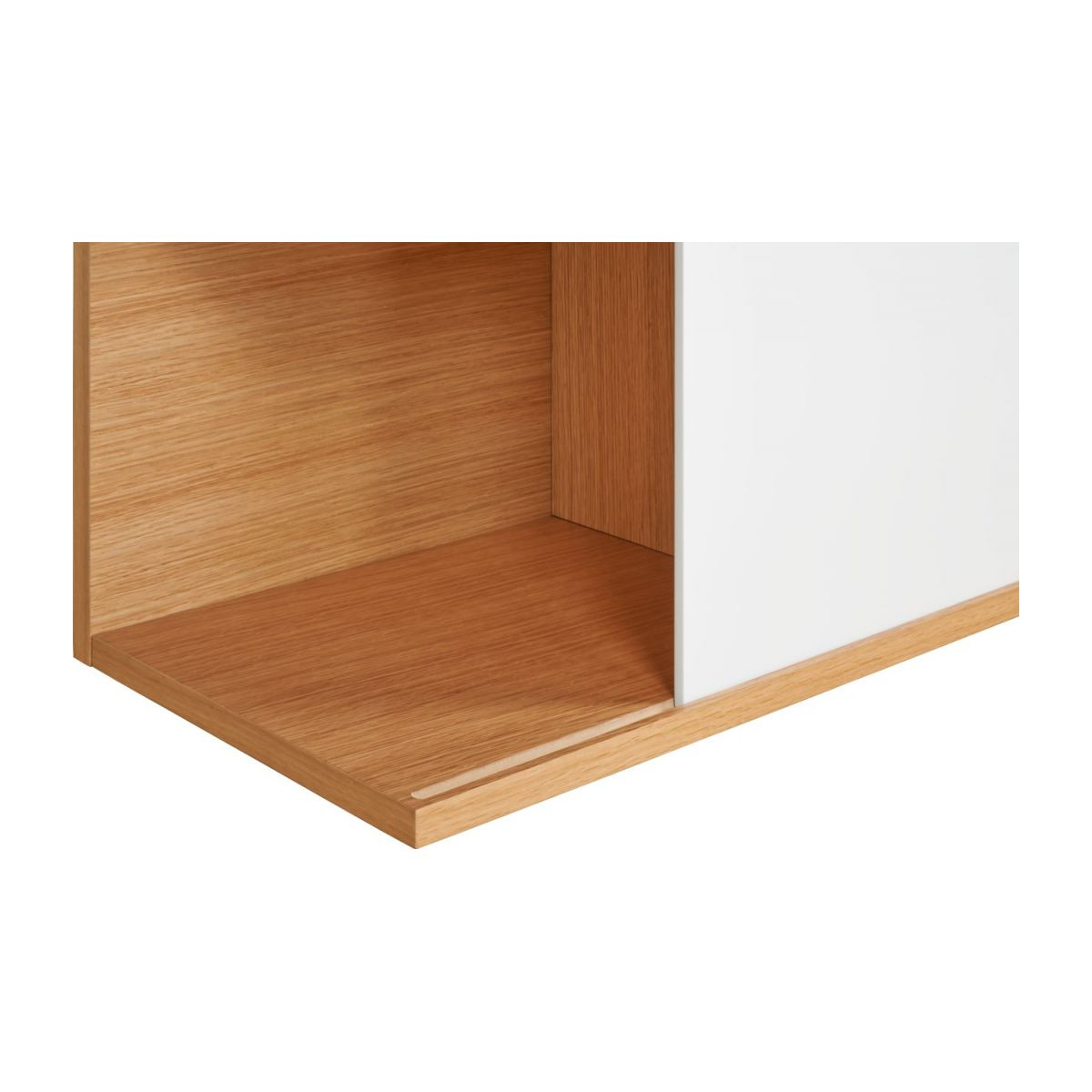 Low bookcase, oak and white n°6