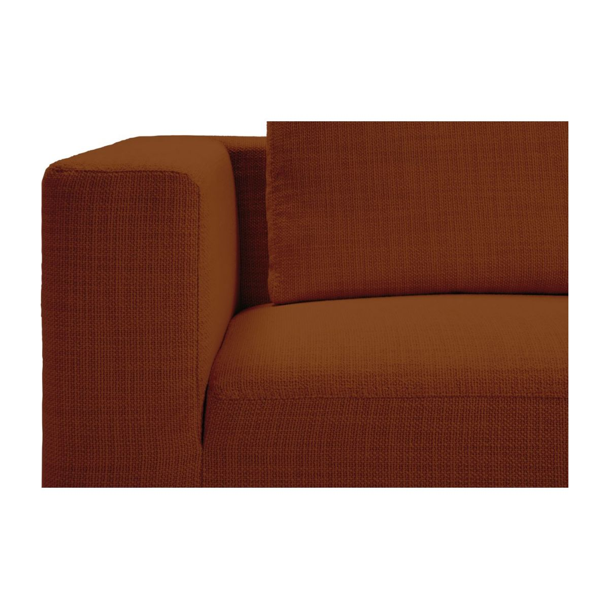 1,5 seater sofa with left armrest in Fasoli fabric, warm red rock n°6