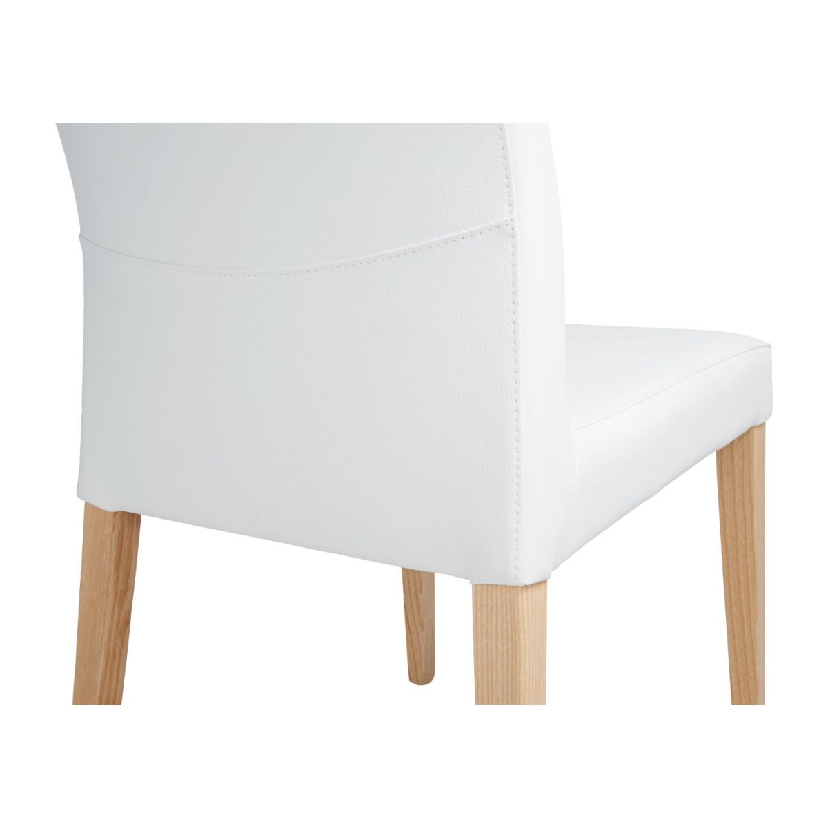 Chair made of imitation leather, white with ash legs n°6