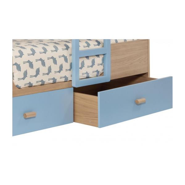 Bunk beds made of oak, natural and grey-blue n°6