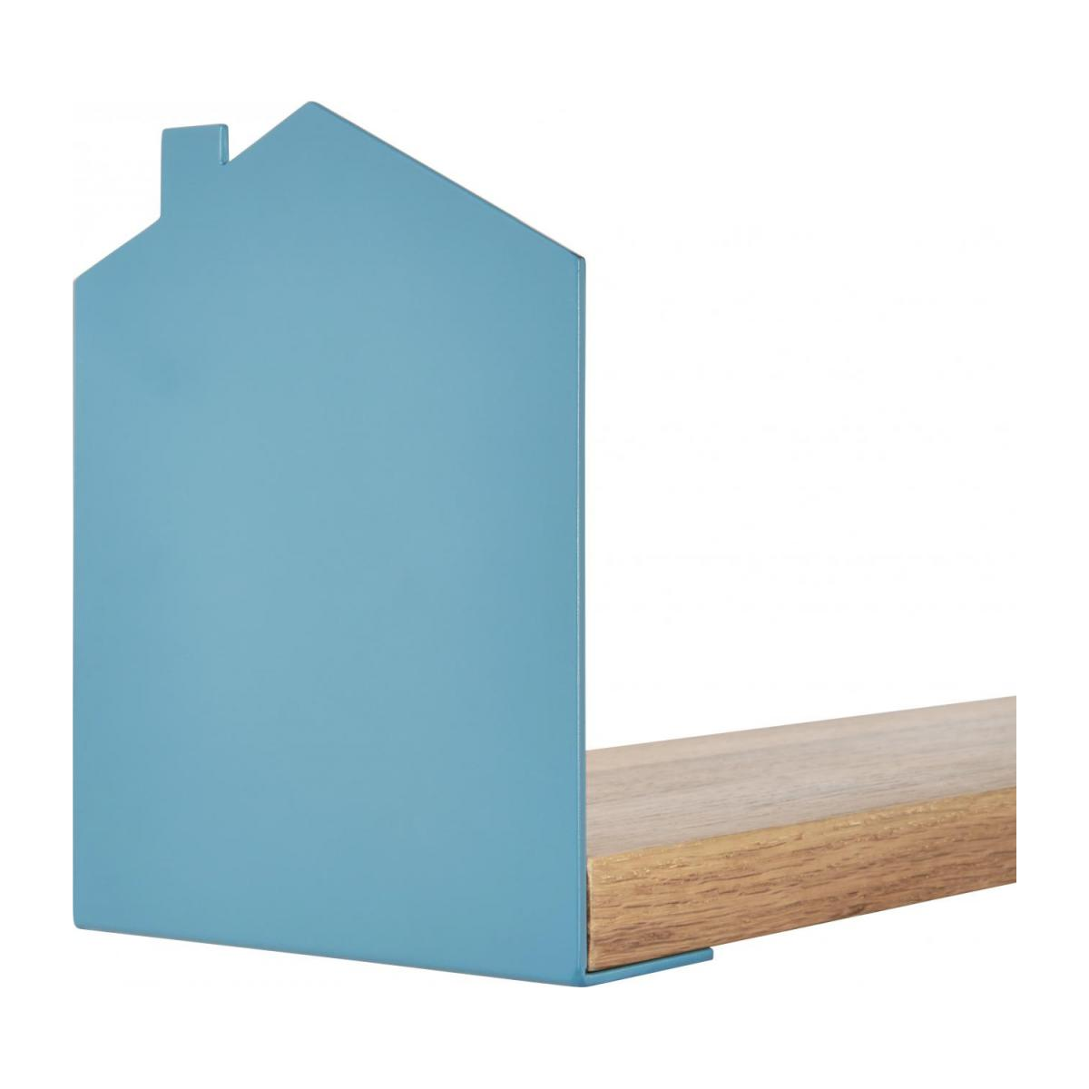 Shelf made of wood and metal, natural and grey-blue n°5