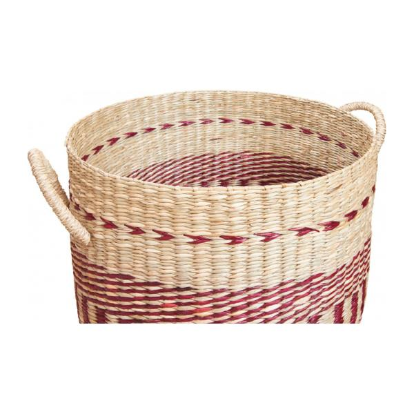 Basket made of seagrass, 35x30cm, with red patterns n°5