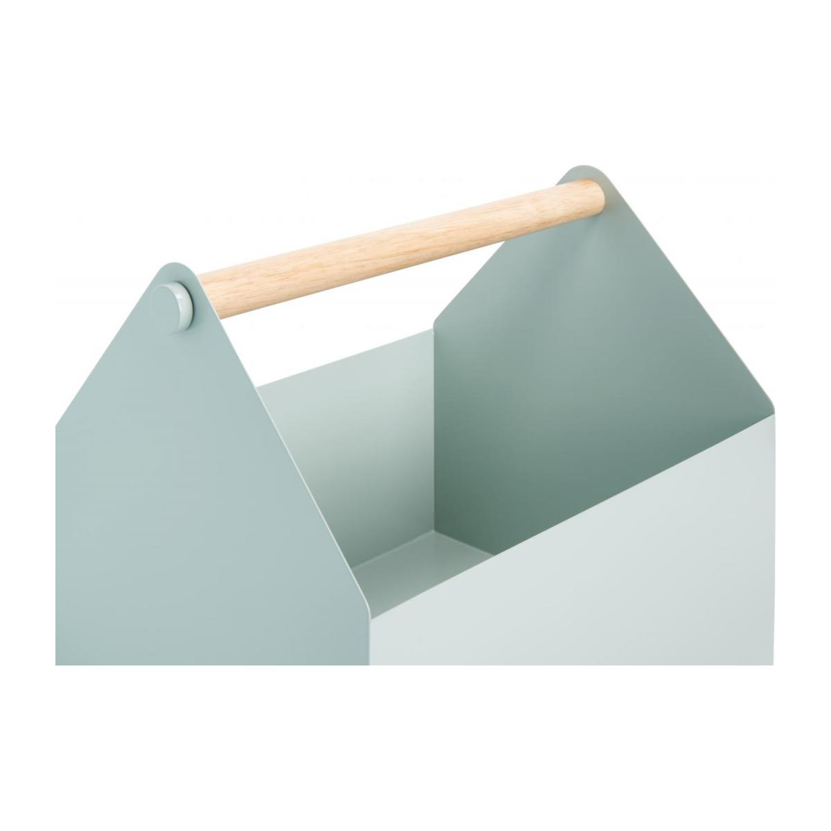 Magazine box made of metal and wood, green n°3
