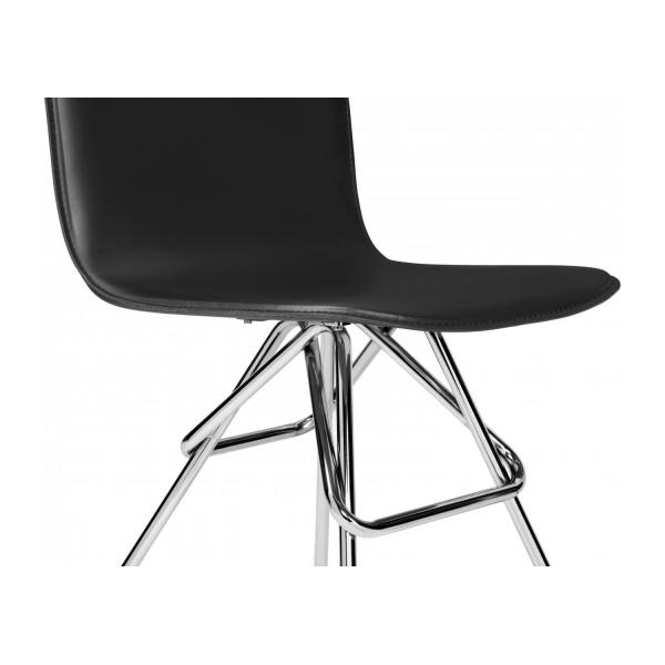 Chair with black faux leather cover and chrome steel legs n°5