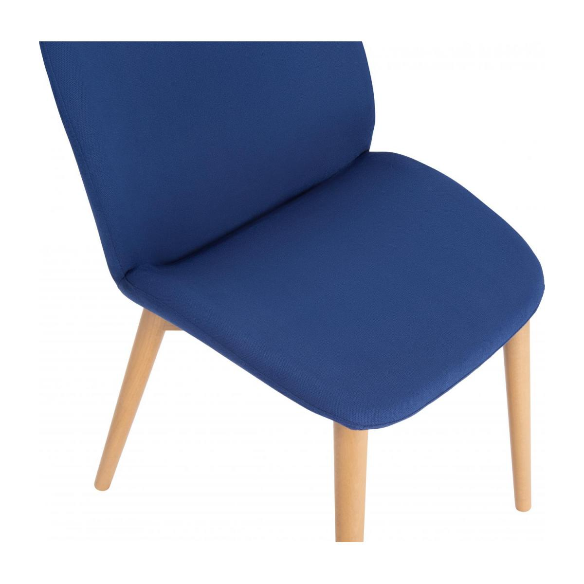 Chair with blue fabric cover and beech wood legs n°5