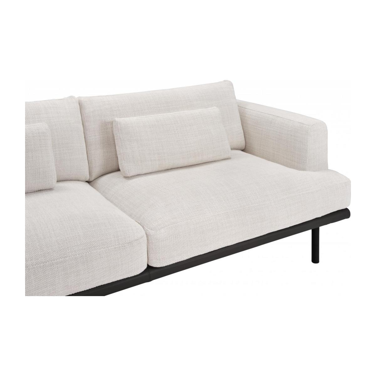 3 seater sofa in Fasoli fabric, snow white with base in black leather n°6