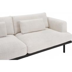 2 seater sofa in Fasoli fabric, snow white with base in black leather