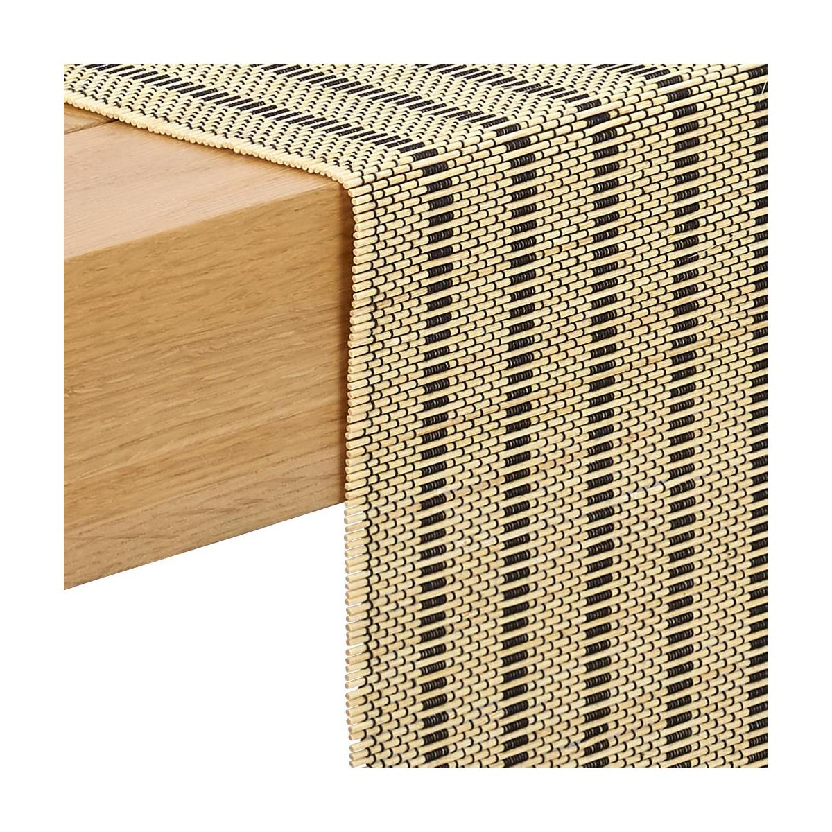 Black Patterned bamboo Table Runner n°2