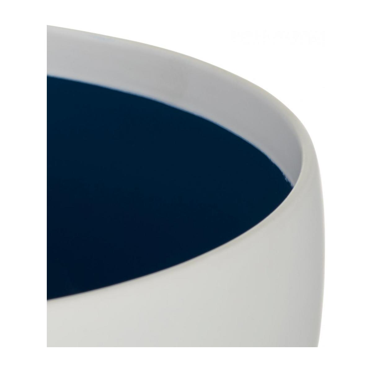 Stoneware Planter White with Blue Inside L n°3