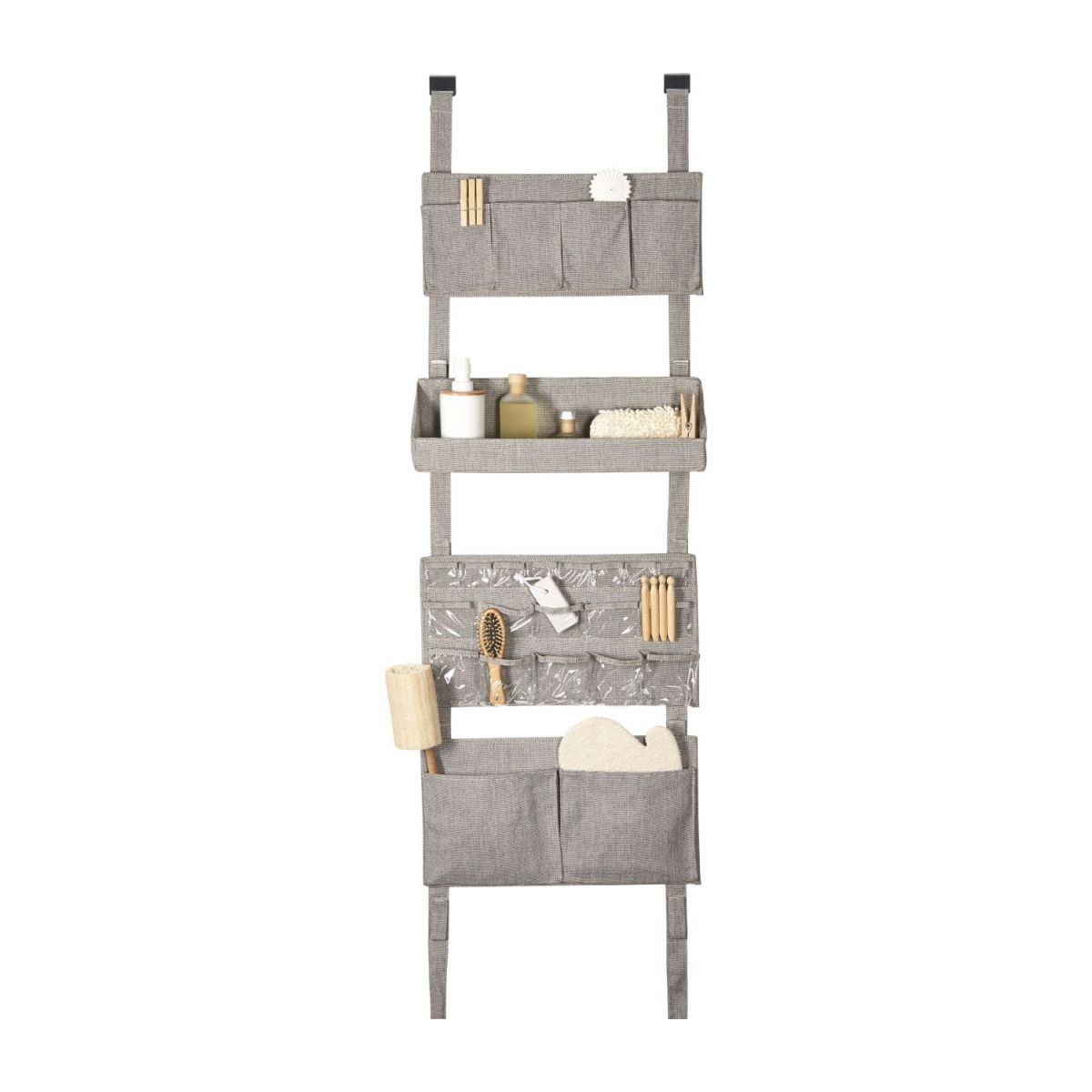 Wall modular storage with pockets, grey fabric and bamboo n°4