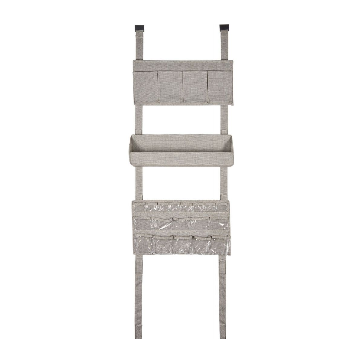 Wall modular storage with pockets, grey fabric and bamboo n°2