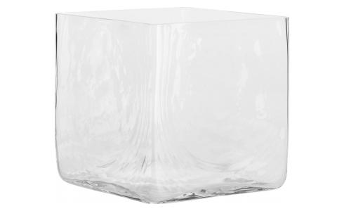 Vase carré en verre - 22 cm - Transparent
