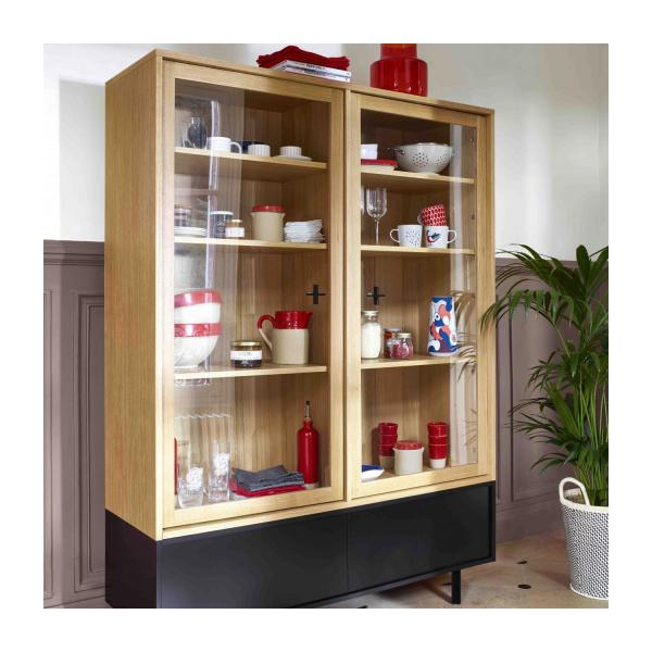 Storage furniture made of oak and glass n°2
