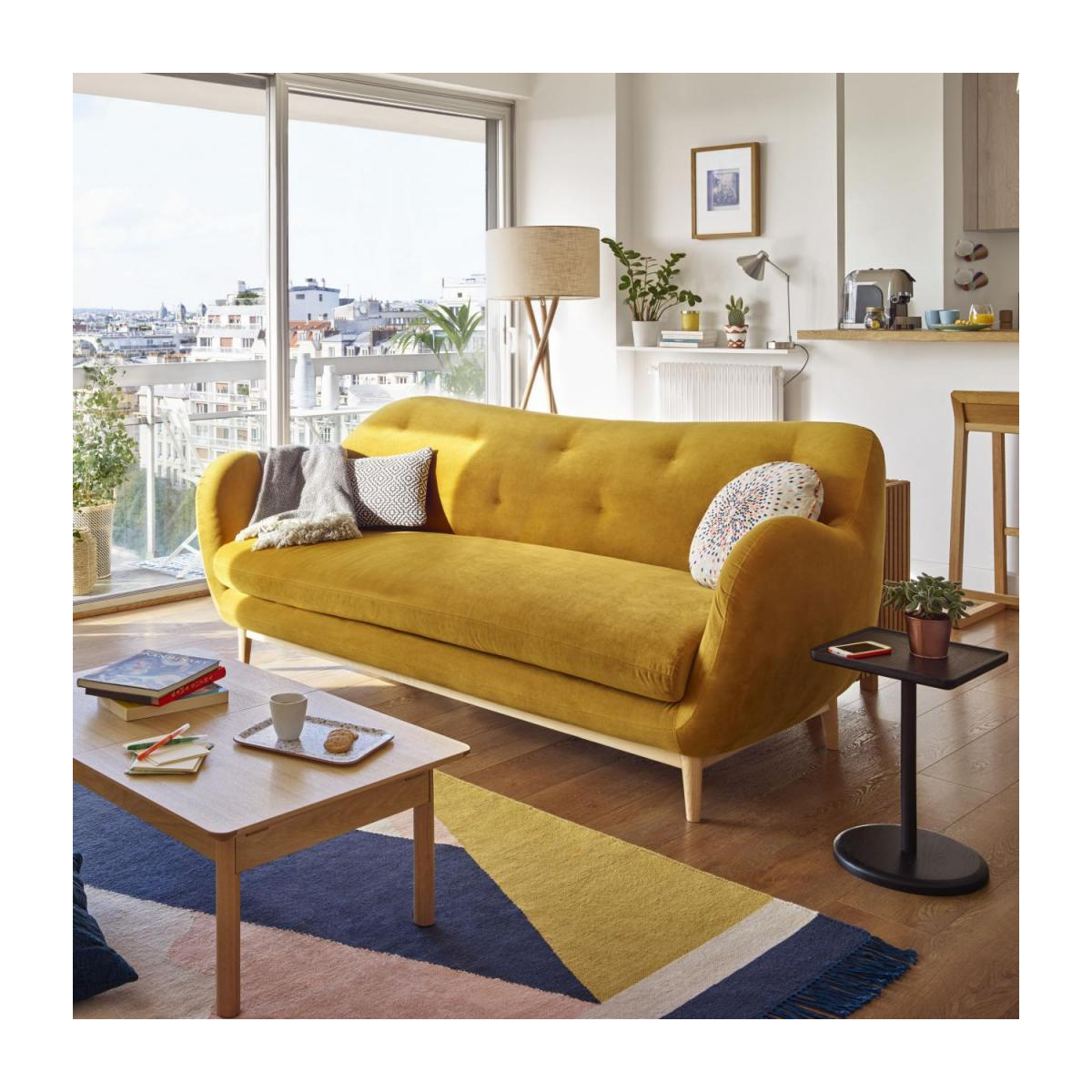 3-seat sofa made of velvet, mustard n°2
