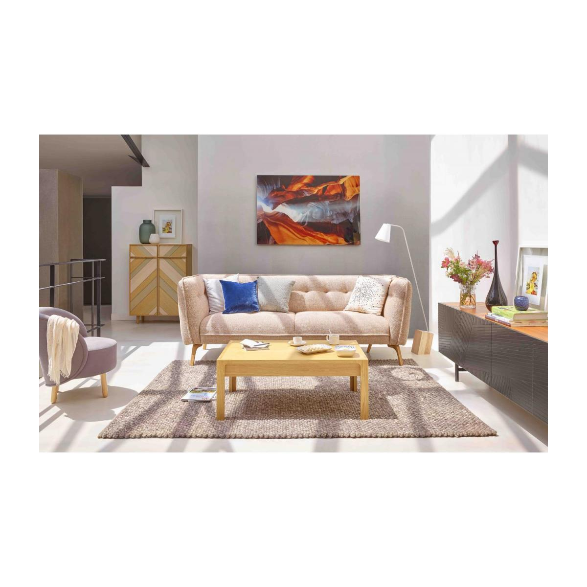 3 seater sofa in Lecce fabric, muscat and natural oak feet n°2