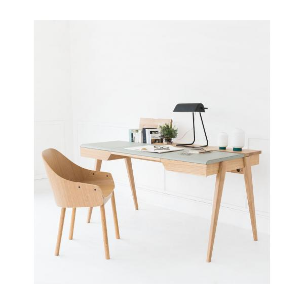 Large oak and leather desk n°2