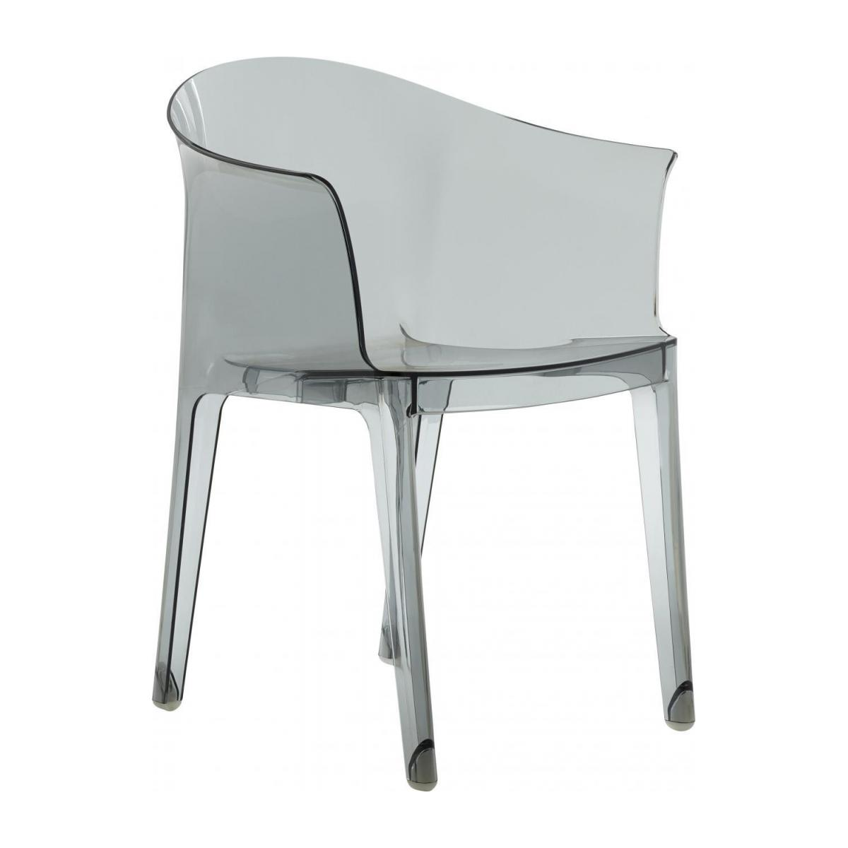 Smokey grey armchair in polycarbonate n°1