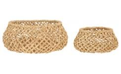 Lot de 2 paniers de rangement en abaca - Naturel