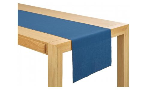 Chemin de table en lin bleu marine